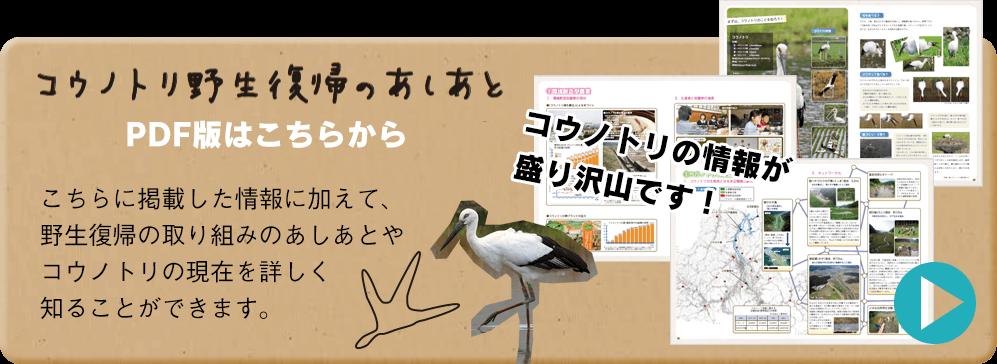 バナー:コウノトリ野生復帰のあしあと(PDF版)